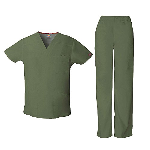 Dickies Everyday Scrubs Signature by Men's Scrub Set Medium Tall Olive by Dickies