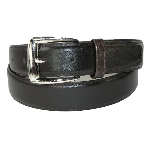 CTM Men's Leather 1 1/4 inch Basic Dress Belt, 32, Brown