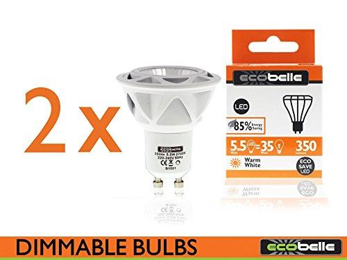 Ecobelle® x 2 Bombillas LED GU10, 5,5W (Igual a 35 W,) 350 Lm, Color Blanco Cálido 2700 K, con Regulador de Intensidad: Amazon.es: Iluminación
