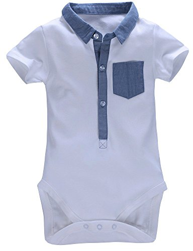 Mobycare Baby Boys Polo Shirt Short Sleeve Bodysuit Formal Onesie (White, 6months) (Boys Polo Style Romper)