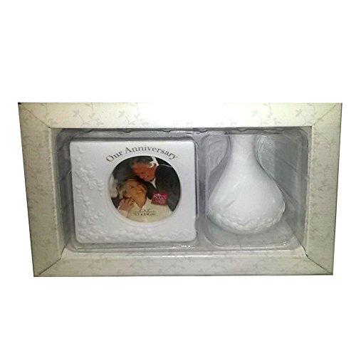Russ Berrie White Lace & Promises Anniversary Gift Set - Porcelain Photo Frame & Bud Vase