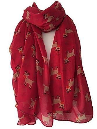 Women Christmas Scarf Reindeer Print Large Size Ladies Shawl Scarves Xmas Gift