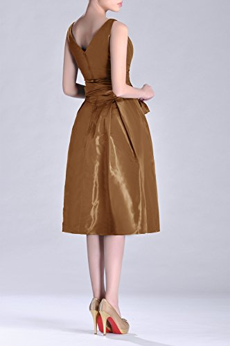 line Formal Bridesmaid neck Length Taffeta V Dress bridesmaids Tea Pleated Modest A Cocoa Ontqaf