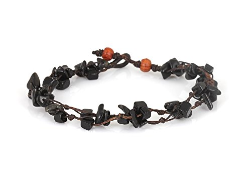 MGD, Black Onyx Color Bead Anklet. Beautiful 26 Centimeters Handmade Stone Anklet Made from wax cord. Fashion Jewelry for Women, Teens and Girls., JB-…