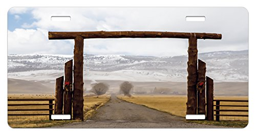 Western License Plate by Lunarable, Big Log Gate Lane Montana Cattle Ranch in Winter Countryside Hills Cloudy Sky, High Gloss Aluminum Novelty Plate, 5.88 L X 11.88 W Inches, Brown Grey (Big Sky Log)