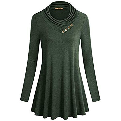 Wintialy Women's Button Long Sleeve Cowl Neck Form Fitting Casual Tunic Top Blouse