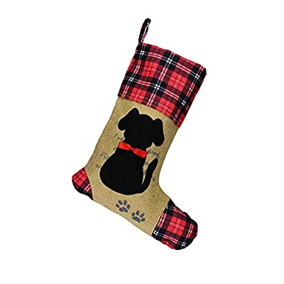 Wendsim Christmas Stocking for Pet Dog Cat with Red Bowknot Pet Stocking for Personalize