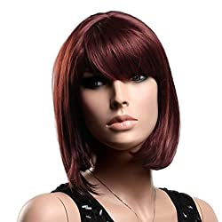 Gooaction Women's Fashion Short Straight Bob Red Wig with Oblique Bangs Synthetic Cosplay Hair Wigs for Ladies