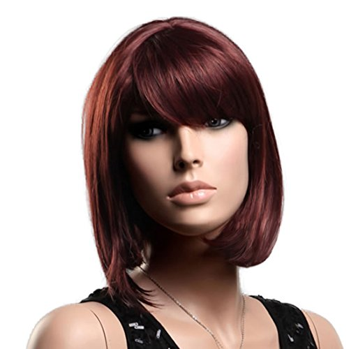 GOOACTION High-end American Popular Red Brown Oblique Bangs Bob Wigs For Women and Ladies Short Wigs Hair Wigs Lace Wigs Wigs (Red Wig With Bangs)