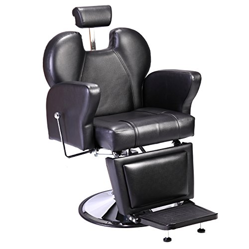 JAXPETY Professional Swivel Hydraulic Barber Chair Styling Salon Beauty Spa Shampoo Hair Styling Equipment Black (STYLE-1)