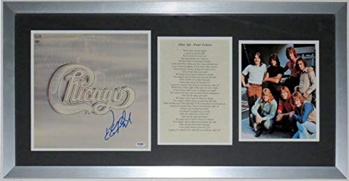 (Peter Cetera Signed Chicago Album - PSA DNA COA Authenticated - Professionally Framed & 8x10 Tour Photo & Lyrics 36x18)