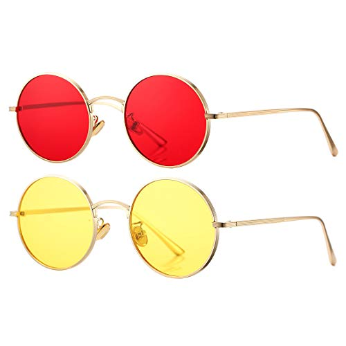 COASION Vintage Round Metal Sunglasses John Lennon Style Small Unisex Sun Glasses (Gold Frame/Red Lens + Gold Frame/Yellow Lens)