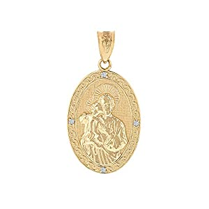 Solid 10k Yellow Gold Saint Joseph Diamond Oval Medal Charm Pendant (1