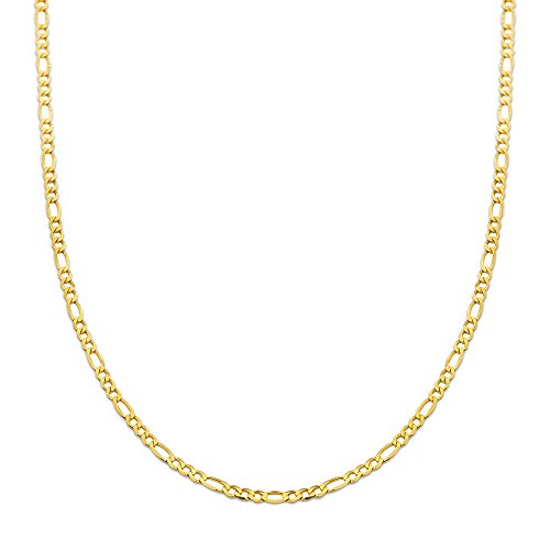 (10K Yellow Gold 2.5mm Solid Figaro Chain Necklace (24 inches))