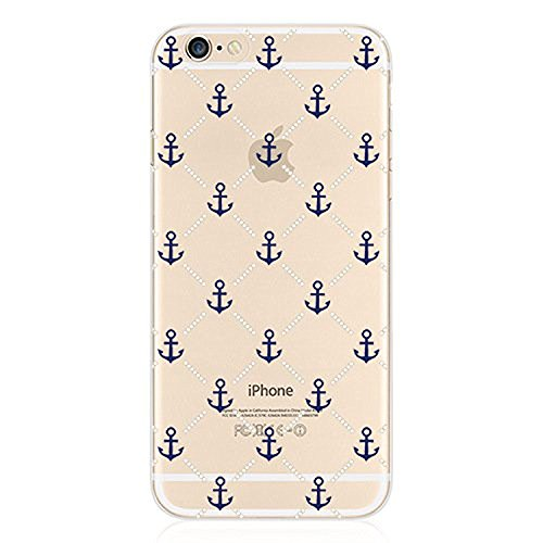 iPhone 8 / 7 Compatible, Colorful Rubber Flexible Silicone Case Bumper for Apple Clear Cover - Anchor Pattern