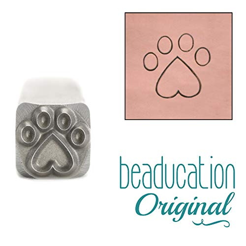 Cat/Dog Paw with Heart Metal Stamp, 8mm Bear Animal Paws Punch Stamping Tool for Hand Stamped DIY Jewelry Crafts - Beaducation Original Metal Design Stamps