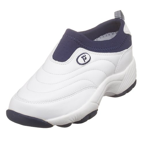Propet Women's W3851 Wash & Wear Slip-On,White/Navy,6.5 W (US Women's 6.5 - On Shopping Broadway