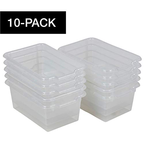 ECR4Kids Scoop-Front Storage Bins, Easy-to-Grip Design Storage Cubbies, Kid Friendly and Built to Last, Pairs with ECR4Kids Storage Units, 10-Pack, Clear ()
