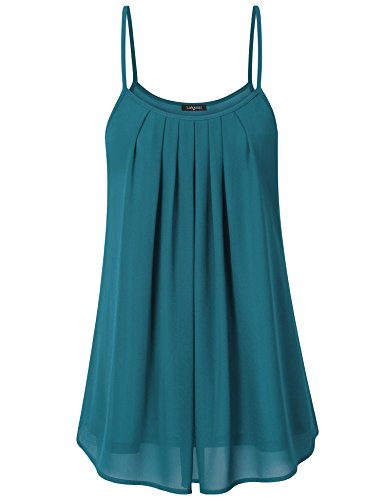 Laksmi Women's Pleated Chiffon Layered Cami Front Pleat Cool Short Tank Tunic Dress (XX-Large, Dark Cyan) (Zipper Front Pleated Dress)