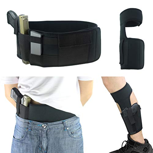 Elekheal Ultimate Belly Band Holster Deep Concealed Carry with Ankle Gun Holster Black Smith&Wesson M&P Shield Bodyguard Glock 17 19 43 Ruger IWB