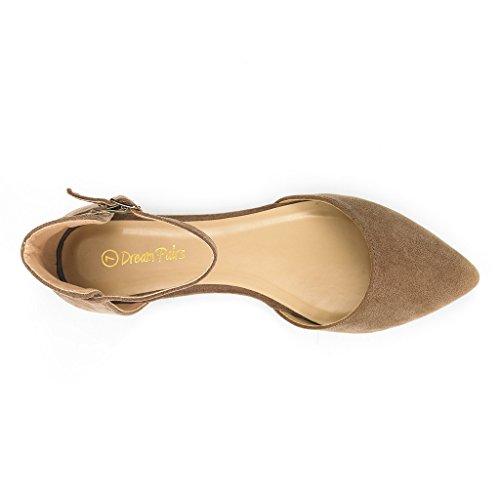 DREAM PAIRS FLAPOINTED Frauen Casual D'Orsay wies Plain Ballett Comfort Soft Slip auf Wohnungen Schuhe neu Knöchel-Nude Wildleder