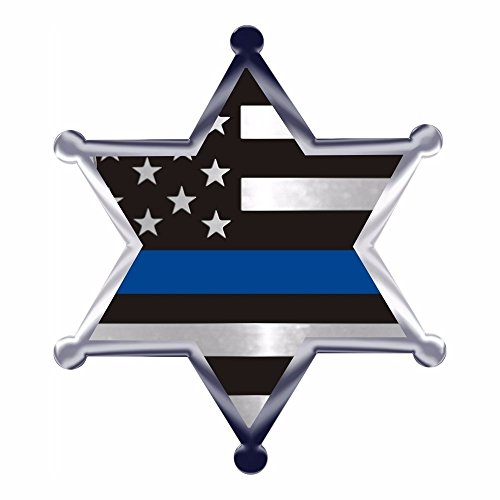 (Thin Blue Line Flag 6 Point Star Metallic Reflective Decal)
