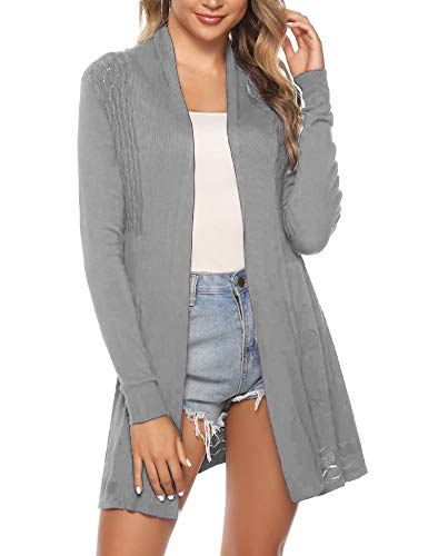 iClosam Womens Casual Long Sleeve Open Front Cardigan Knit Sweater (Grey, X-Large)