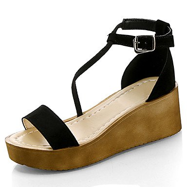 LvYuan Mujer Sandalias Confort PU Verano Confort Tacón Plano Negro Almendra 10 - 12 cms Black