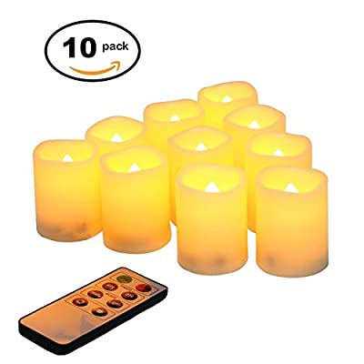 """Candle Idea Battery Operated Flikering Flameless Votives, LED Electric Votive Candles with 8-key Remote Timer,Set of 10, 2"""" H"""