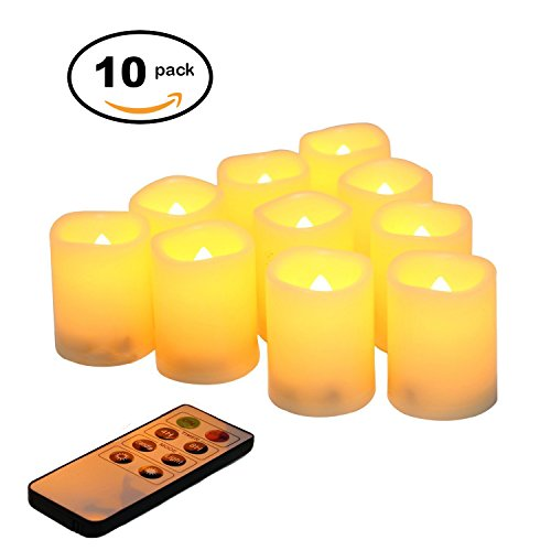 Candle Idea Battery Operated Flikering Flameless Votives, LED Electric Votive Candles with 8-key Remote Timer,Set of 10, 2