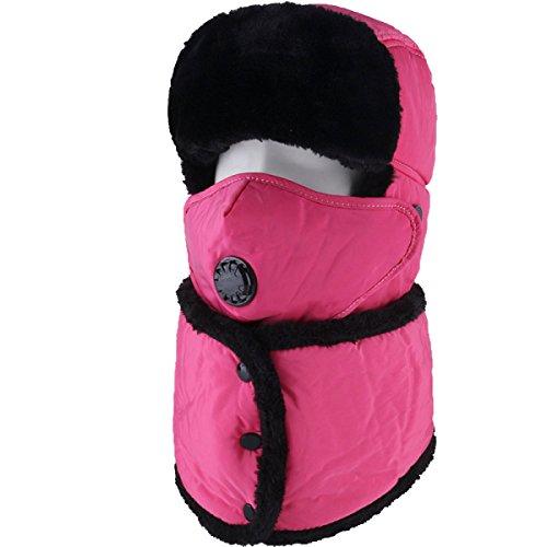 Sombrero De Bombardero Caliente De Invierno Para Hombre Sombrero De Piloto De Sombrero De Caza Orejera De Estilo Ruso Unisex Máscara A Prueba De Viento Sombrero De Esquí De Invierno Clásico RoseRed