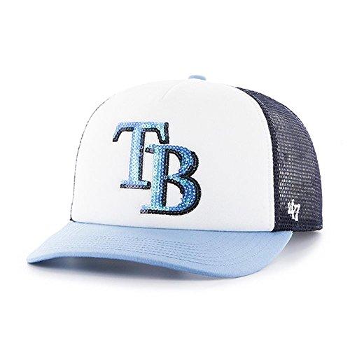 Bay Tampa Single Rays ('47 MLB Tampa Bay Rays Women's Glimmer Captain Adjustable Snapback Hat, Navy)