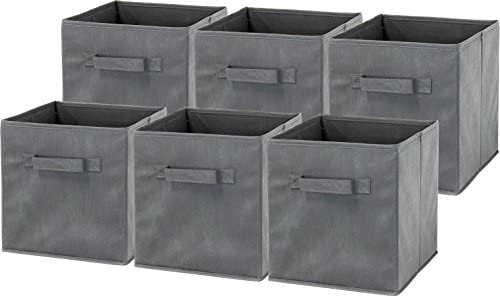 6 Pack » SimpleHouseware Foldable Cube Storage Bin, Dark Grey,baskets, bins & containers