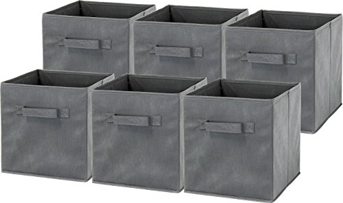 6 Pack - SimpleHouseware Foldable Cube Storage Bin, Dark Grey -