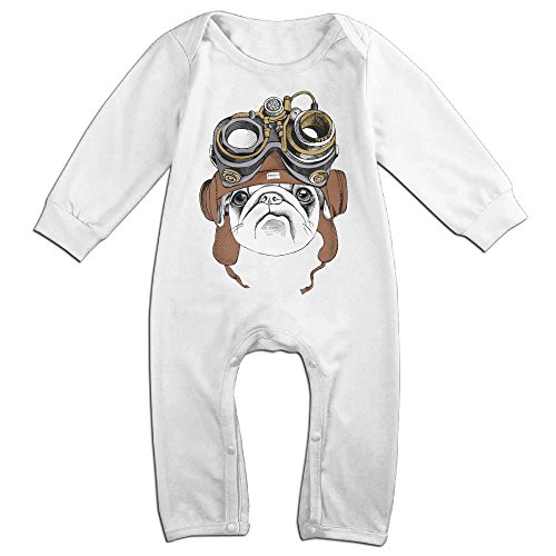 Watch Dogs Costume Car (Baby Infant Romper Steam Pug Vision Dog Long Sleeve Playsuit Outfits White 24 Months)