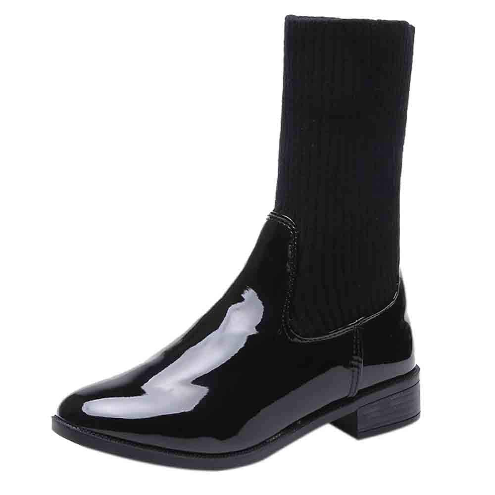 Hot Sale-Fashion Women's Black Patent Leather Low Heel Booties Hosiery Shoes by Dacawin