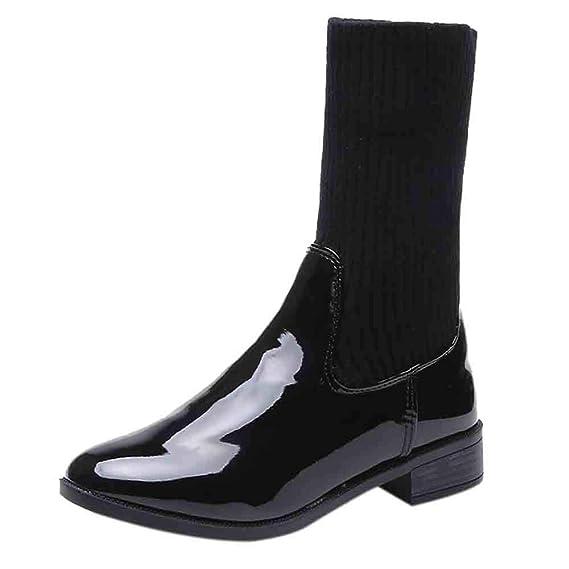 Botines para Mujer Otoño Invierno,Moda Calzado Mujer Botas Casual Planas Zapatos Botas de Agua Moda Mujer tacón bajo Remache Botines Charol Tacones ...
