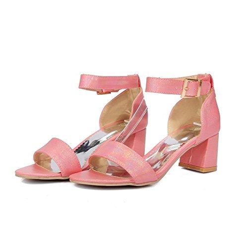 f87192afc30 AllhqFashion Mujeres Sólido Tacón ancho Hebilla Puntera Abierta Sandalias  de vestir con Metal Rosa Descuentos
