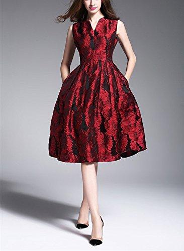 Serale Formali Linea Di Cocktail Abiti Da Una Estate Delle Sygoodbuy Elegante Sleeveless Rosso Jacquard In Donne Abiti Oddqgxwf