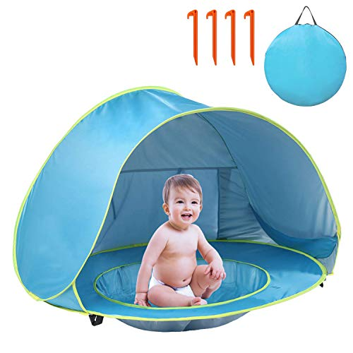 GLTECK Baby Beach Tent, Pop Up Portable Shade with Pool 50+ UPF UV Protection & Waterproof Outdoor Sun Shelter Baby Tent for Infant