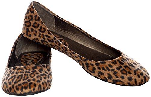 Westbalv Frauen Casual Ballett Flat Leopard Wildleder