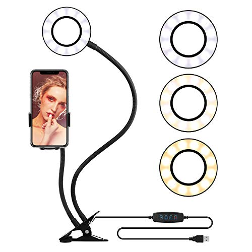 Selfie Ring Light Automatic Cell Phone Holder Stand Live Stream Makeup, OldShark LED Camera Lighting 360 Rotating Flexible Arms YouTube Video 3-Light Mode 10-Level Brightness (Automatic Mount)
