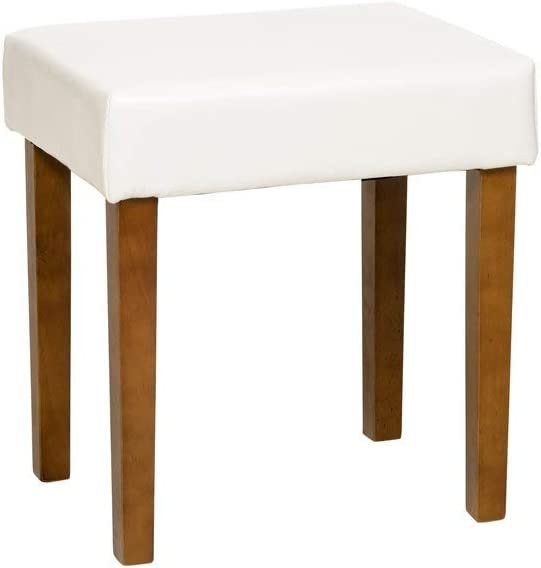 Medium Core Products Stool in Brown Faux Leather Med Wood Leg