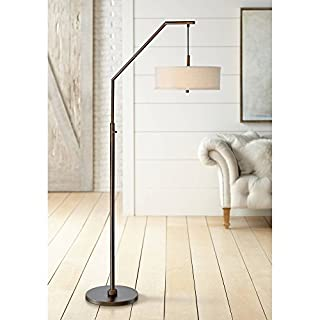 Kellan Modern Arc Floor Lamp Oil Rubbed Bronze Fabric Drum Shade White Acrylic Diffuser Living Room Reading Bedroom Office - Possini Euro Design