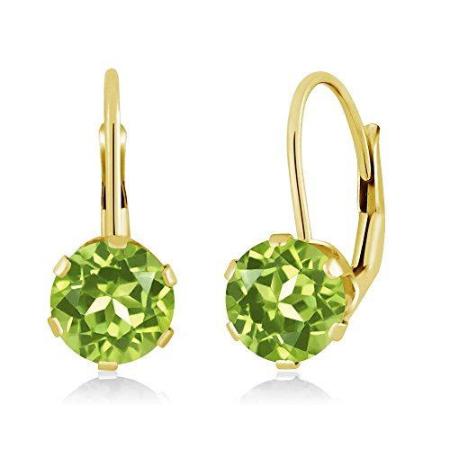 1.80 Ct Round Green Peridot 14K Yellow Gold - 14k Gold Peridot Earrings
