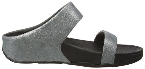 FitflopLulu Shimmersuede Slide - sandalias mujer Gris - Grey (Pewter 054)
