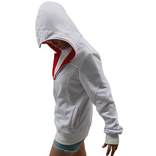 XCOSER Men's Fashion Zip Up Hoodie Jacket Sweatshirt with Beak White XXL