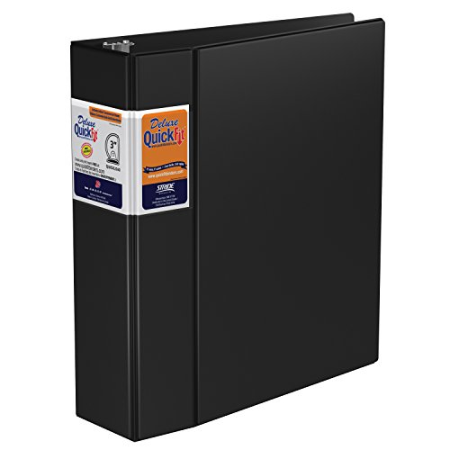 QuickFit Heavy Duty Commercial Binder, 3 Inch, D Ring, Black (29051) by QuickFit