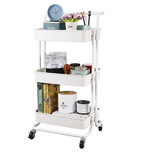 3-Tier Utility Cart, Kitchen Rolling Utility Cart Trolley Storage Shelves with Metal Tubes Lockable Wheels, Easy Assembly Food Service Mesh Basket Cart for Kitchen, Bathroom, Office Paint Storage