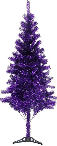 Tinsel Christmas Trees - 6' FT Sparking Gorgeous Folding Artificial Tinsel Christmas Tree purple 450tips
